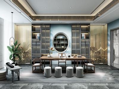 新中式轻奢茶室3D模型【ID:550469975】