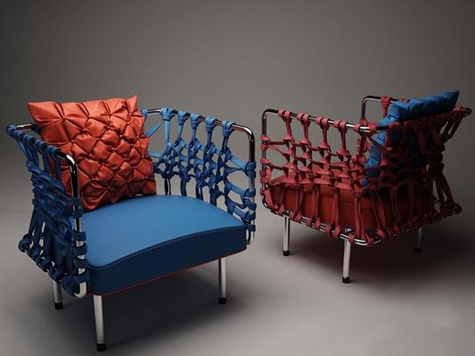 现代藤皮休闲椅3D模型【ID:327924362】