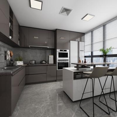 现代敞开式厨房吧台3D模型【ID:127773445】