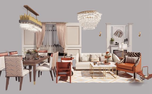 现代沙发茶几组合3D模型【ID:620615039】