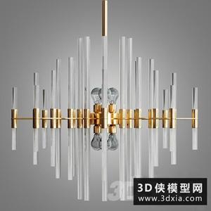 現代金属吊燈国外3D模型【ID:829319726】