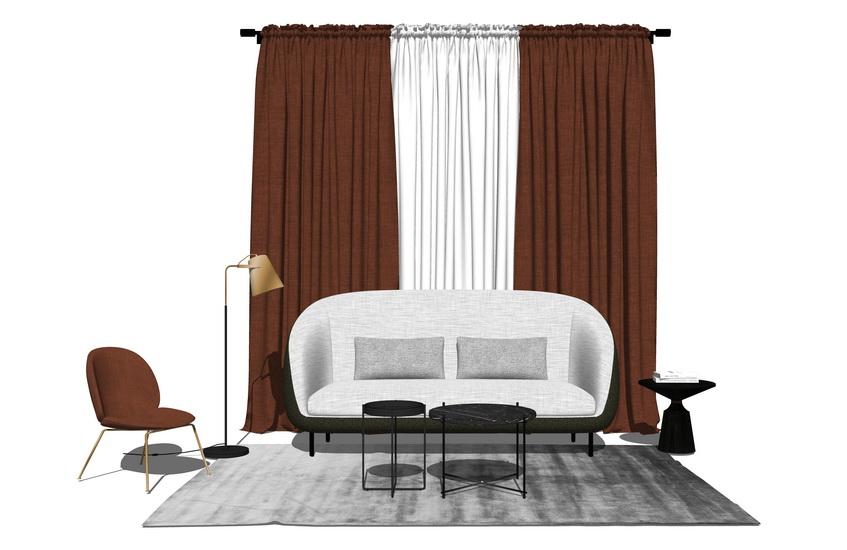 現代風格客廳沙發茶幾窗簾組合SU模型【ID:736435674】