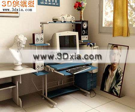 外国经典的电脑桌3D模型【ID:8038】