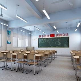 现代普通教室3D模型【ID:528221861】