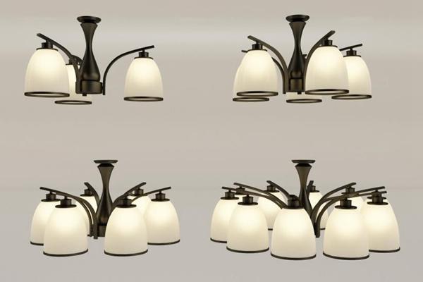美式简约led吸顶灯3D模型【ID:628046025】