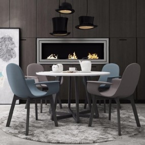 现代北欧餐桌椅壁炉组合3D模型【ID:227883496】