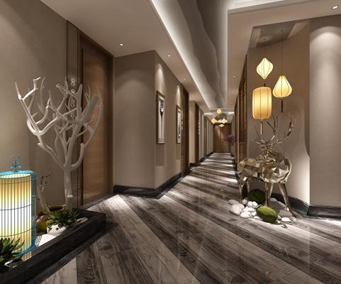 賓館過道模型3D模型【ID:427939804】
