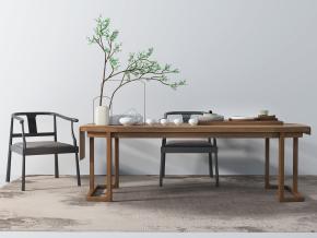 新中式泡茶桌椅茶具組合3D模型【ID:327785620】