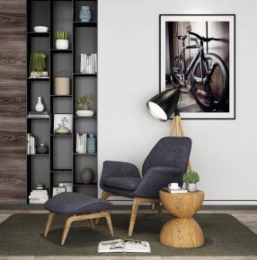 北欧休闲单椅脚踏圆几装饰柜摆件组合3D模型【ID:227779435】