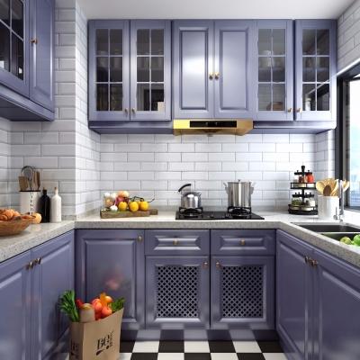 美式廚房櫥柜組合3D模型【ID:727811356】