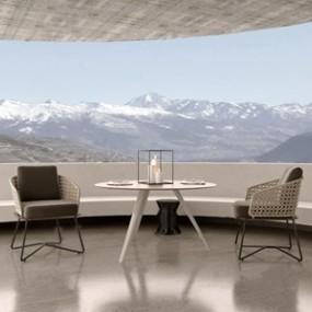 Minotti现代户外桌椅组合3D模型【ID:320800354】