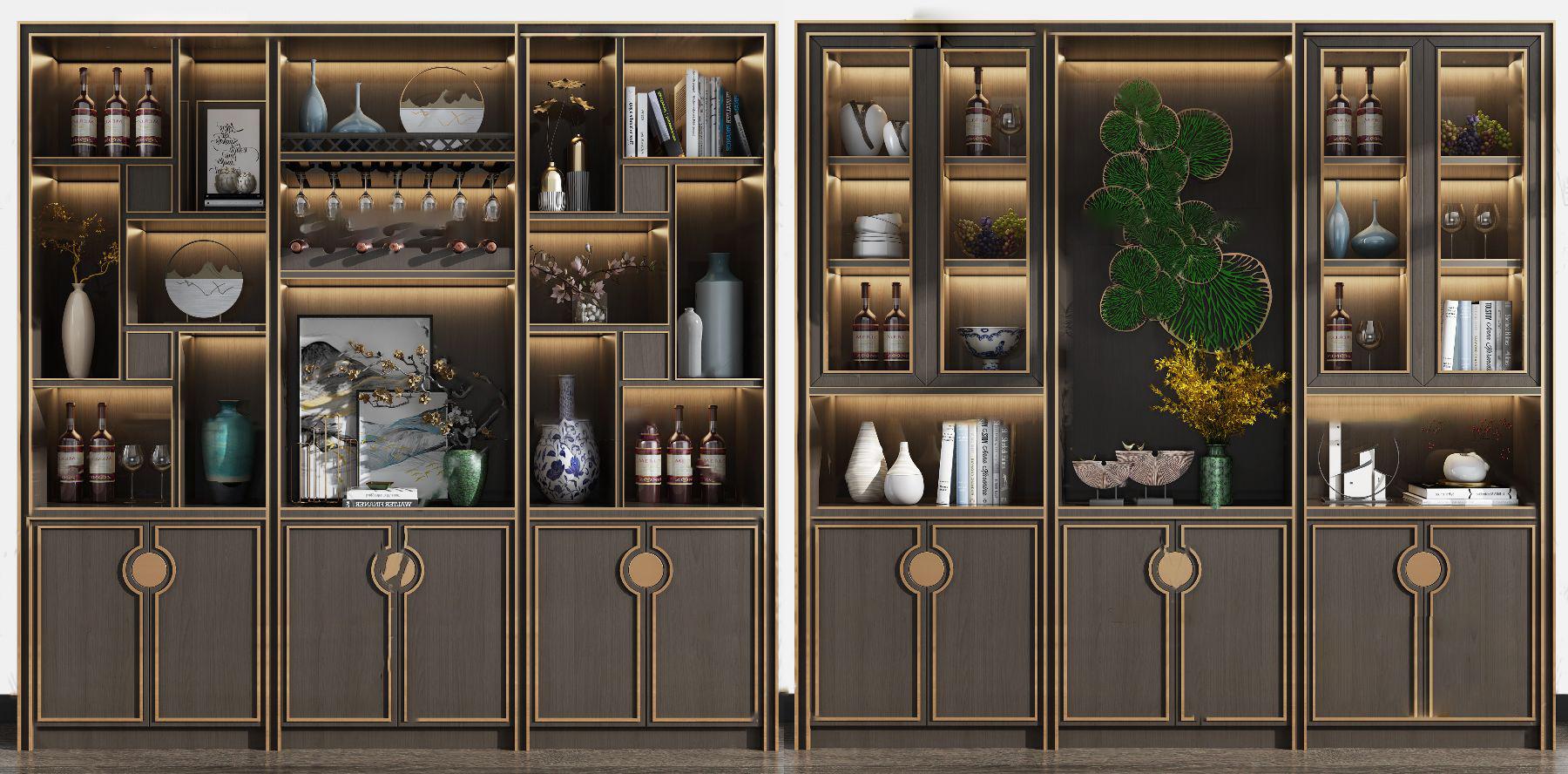 新中式实木酒柜3D模型【ID:643426282】