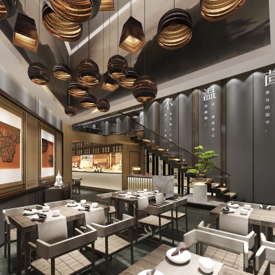 新中式休闲餐厅餐馆3D模型【ID:327792482】