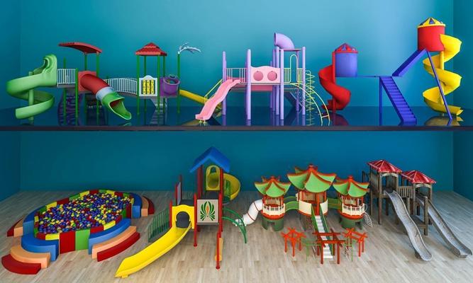 兒童游樂場滑梯組合3D模型【ID:827994022】