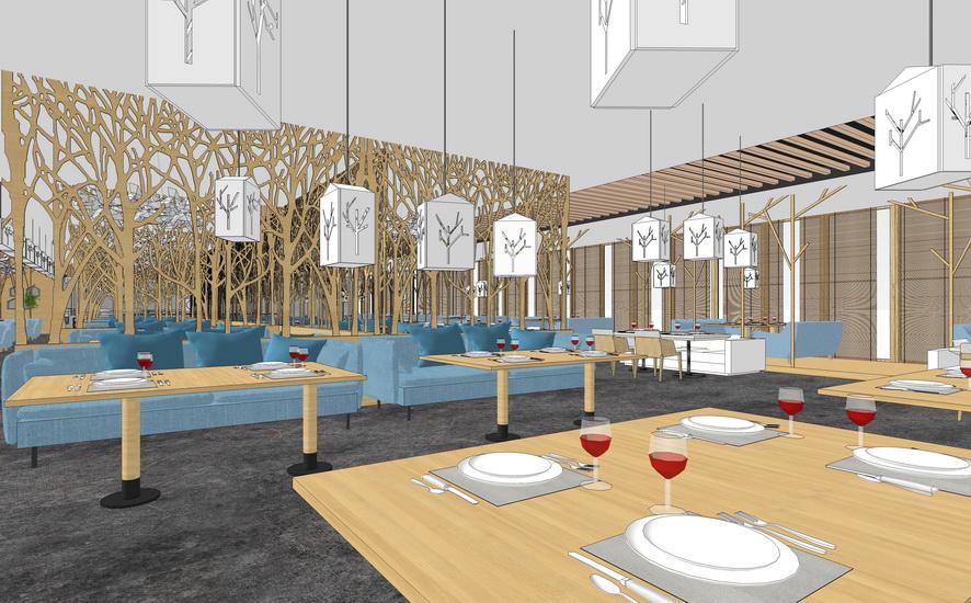 樹主題餐廳室內設計SU模型【ID:936437860】