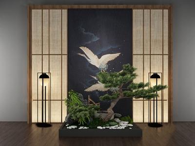 日式松树石头景观小品3D模型【ID:131396872】