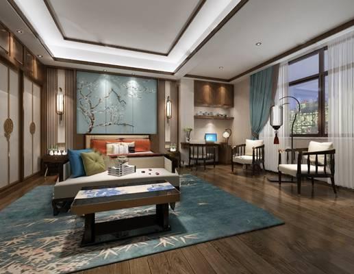 中式卧室3D3D模型【ID:419616359】