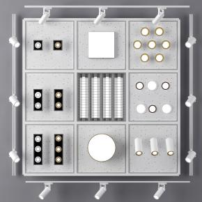 现代筒灯射灯栅格灯组合3D模型【ID:627805606】