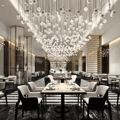 新中式个性西餐厅3D模型【ID:228425922】