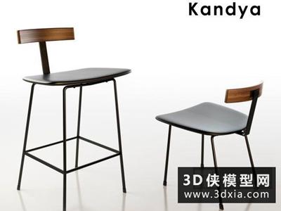 现代吧椅国外3D模型【ID:729448891】
