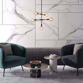 现代休闲沙发椅圆几组合3D模型【ID:928349638】