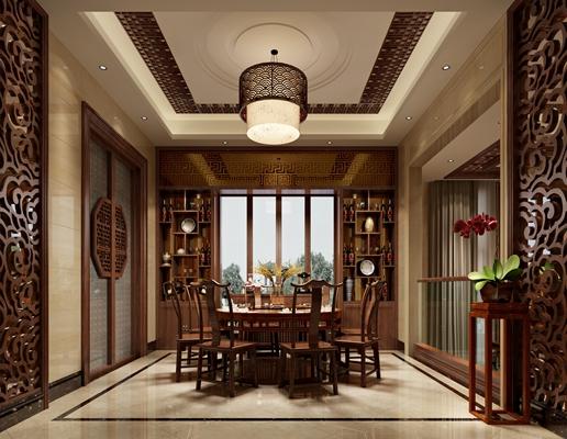 传统中式原木色家居餐厅3D模型【ID:814901538】