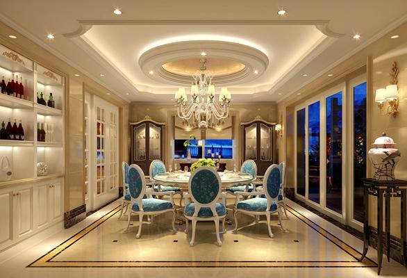 经典欧式家居餐厅3D模型【ID:814907508】