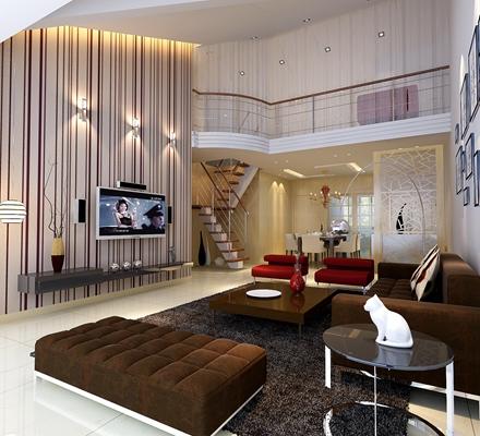 现代复式客厅3D模型【ID:815014248】