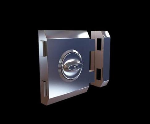 银色铁艺门锁3D模型【ID:815033460】