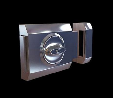 银色铁艺门锁3D模型【ID:815033463】