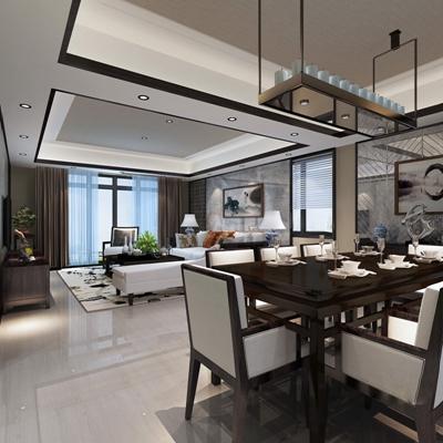 新中式客餐厅3D模型【ID:815051382】