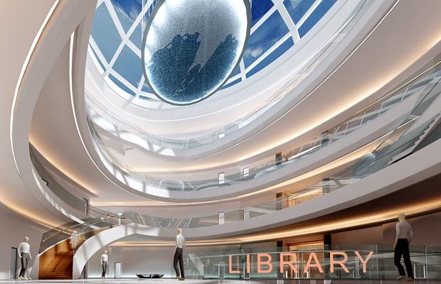 现代图书馆3D模型【ID:815088247】