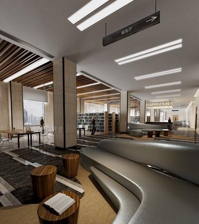 现代图书馆3D模型【ID:815111240】