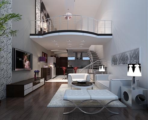 现代白色loft客厅3D模型【ID:815141060】