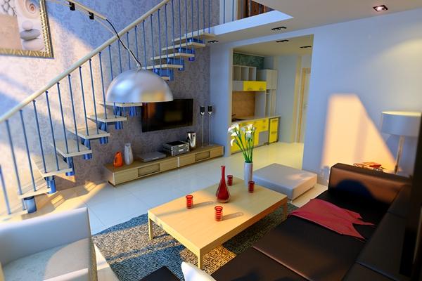 现代loft客厅3D模型【ID:815149025】