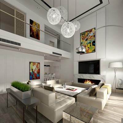 现代白色loft客厅3D模型【ID:815171080】