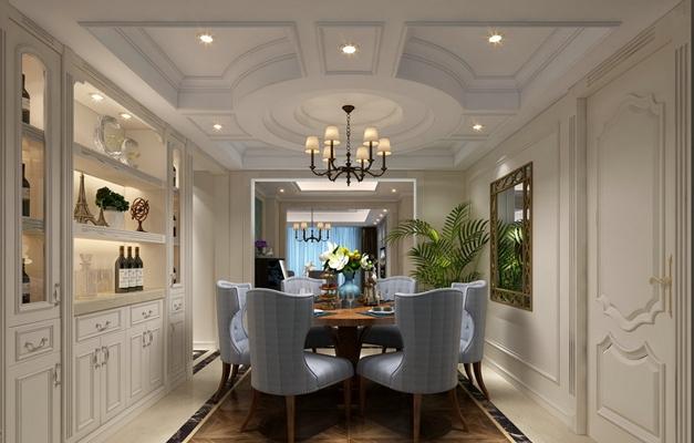 欧式简约白色家居餐厅3D模型【ID:815173587】