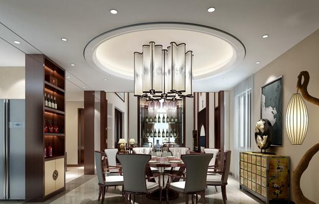 新中式家居餐厅3D模型【ID:815178526】