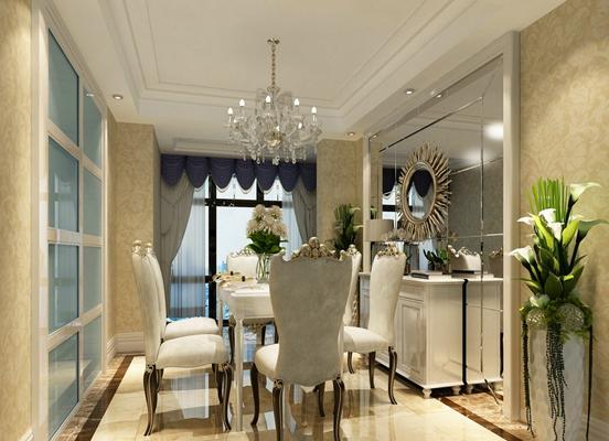 欧式简约家居餐厅3D模型【ID:815193520】