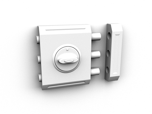 银色铁艺门锁3D模型【ID:815334429】