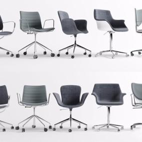 现代休闲办公椅组合3D模型【ID:228235954】
