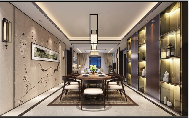 新中式家居餐厅3D模型【ID:817424569】