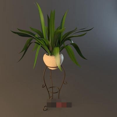 棕色铁艺花几3D模型【ID:817472730】