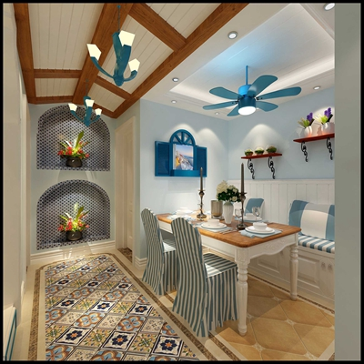地中海家居餐厅3D模型【ID:817484532】