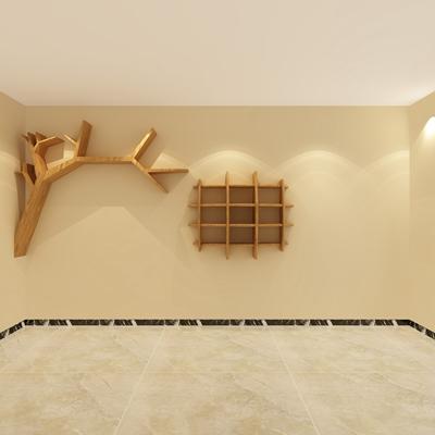棕色木艺置物架3D模型【ID:817500959】