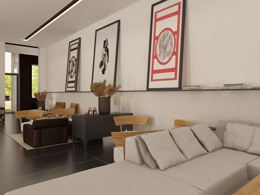 现代复式客厅3D模型【ID:817593207】