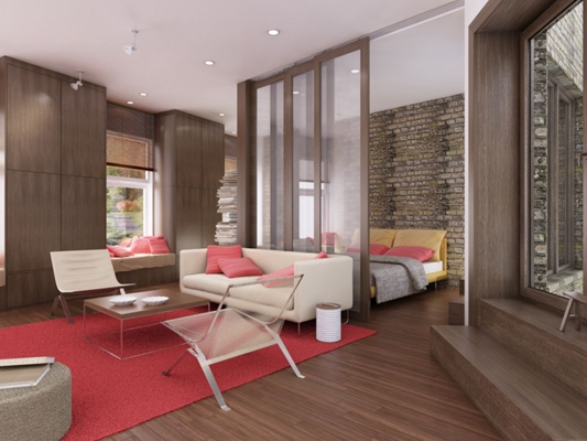 现代复式客厅3D模型【ID:817593219】