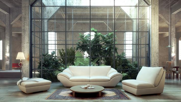 工业风复式客厅3D模型【ID:817593264】