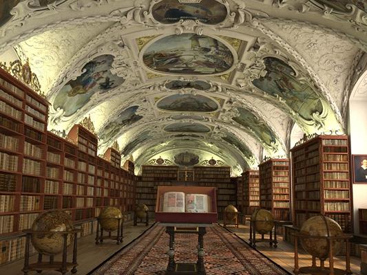 欧式古典图书馆3D模型【ID:817593272】