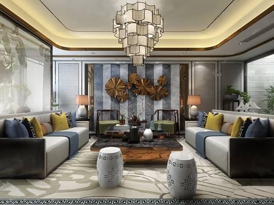 新中式复式客厅餐厅过道3D模型【ID:817692369】
